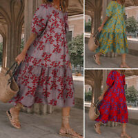 UK Womens Short Sleeve Floral Baggy Casual Loose Kaftan Midi Dress Beach Dress