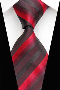 Herren Kram Klassische Streifen Seide Gestreifte Krawatte Schwarz Lila Weiß