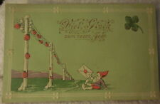 Viel Gluck zum Neuen Jahre Good Luck in the New Year postcard elf lady bug old