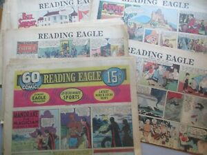 HUGE LOT of 48 Pages Reading (PA) Eagle Sunday Comics from 1958