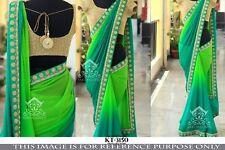 Orange Georegtte Sari With Blouse Floral Print Elegant Indian Ethnic Bollywood