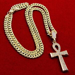 """Men's Gold Plated Egyptian Cz Ankh Hip-Hop Pendant 30"""" Cuban Chain Necklace D804"""