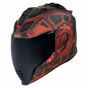 Icon Airflite Blockchain Red Full Face Motorcycle Motorbike Helmet