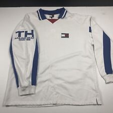 Vtg 90s Tommy Hilfiger TH Sailing Gear Flag Long Sleeve Rugby Shirt Mens XXL