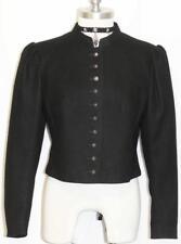 "BOILED WOOL Fitted JACKET Women AUSTRIA Short Riding Dirndl BLACK COAT B38"" 8 S"