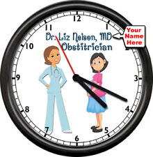 Personalized Name Female Male Doctor MD Gynocology Obstetrician Sign Wall Clock
