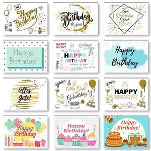Geburtstagskarten 12er Set mit Umschläge, Happy Birthday Postkarten, Kraftpapier