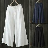 Women Ladies 3/4 Length Linen Pants Crop Wide Leg Culottes Trousers Plus Size US
