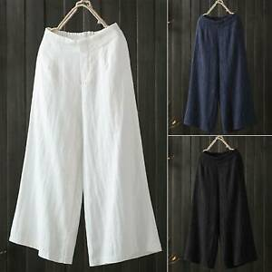 Women Ladies 3/4 Length Linen Pants Crop Wide Leg Culottes Trousers Plus Size US