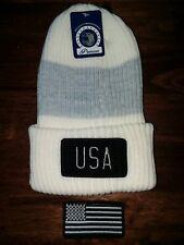 Sportsman Silhouette America12 Inch White+gray Knit Acrylic Beanie Stocking Cap