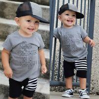 Newborn Toddler Kids Baby Boy Summer T-shirt Tops+Short Pants Outfit Clothes Set