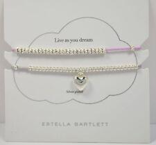 Estella Bartlett Heart Bracelet Set - Silver Plated and Cord