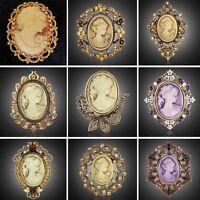 Vintage Jewelry Cameo Crystal Brooch Pins Flower Women Lady Wedding Christmas
