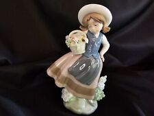 Lladro Girl With Basket Of Flowers #5221 Sweet Scent Mint Daisa Signed Figurine