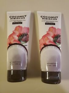 2X Bath and Body Works COCONUT  HIBISCUS Body Cream Lotion 8 oz Lot/ Pair of 2