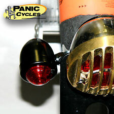"MINI 2"" BULLET TURN SIGNAL MARKER LIGHT BLACK RED DUAL FIL PAIR HARLEY BOBBER"
