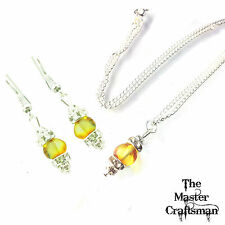 ☆GENUINE BALTIC AMBER BEADS JEWELLERY SET PENDANT SILVER NECKLACE CHAIN EARRINGS