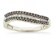 Chocolate Brown & White Diamond Ring .925 Silver Round & Baguette Diamonds .50ct