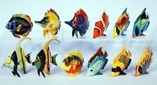 """Hand Painted 3"""" Assorted Tropical Fish Statue Figurine Sculpture 727 (Set of 12)"""