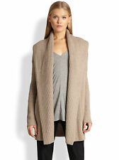 Beautiful Vince Beige Knit Ribbed Shawl Yak & Wool Sweater Car Cardigan $400+!
