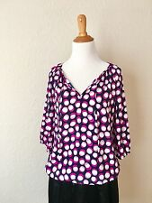 Loft Ann Taylor Top Blouse Size SP Polka For Purple Preowned Career Formal Work