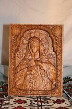 WOOD CARVED CHRISTIAN Orthodox byzantine ICON RELIGIOUS VIRGIN MARY WALL ART
