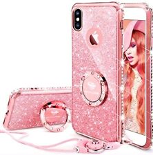 BEST SELLER !!   iPhone X Case, Glitter, Kickstand Ring, Sparkly Gems, ROSE GOLD