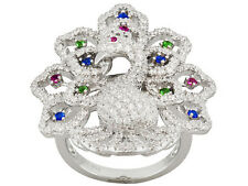 Bella Luce (R) .56ctw Rhodium Plated Sterling Silver Peacock Ring Size 6