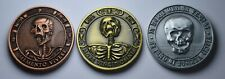 More details for trio of memento mori/vivere reminder coins. death/life owl/skull/hourglass/stoic