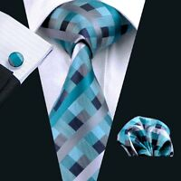 Classic Teal Men's Tie Set Silk Plaid Check Green Necktie Cufflinks Business 553
