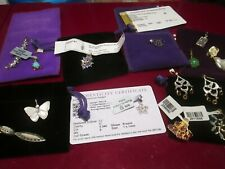lot sterling silver  and other metals pendants diamond  opal tanzanite sapphire