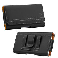 Black/Tan Leather Belt Clip Holster Pouch Horizontal Phone Holder Luxmo USA