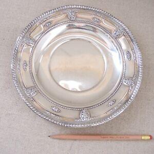 "Wallace Rose Point Dessert Plate Sterling Silver Sandwich 9.25"" Estate Vtg 170g"
