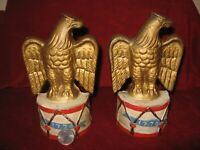Vintage American Eagle on Drum Painted Cast Iron 1776 Independence Bookends