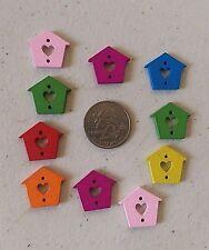 "Lot of 10 BIRDHOUSE 2-hole Wood Buttons 3/4"" x 7/8"" (18mm) Scrapbook Craft (828)"