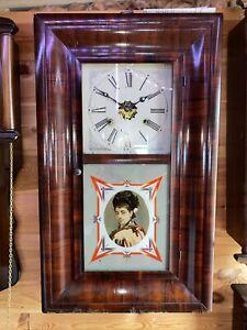 American Mahogany Wall Clock By E.N.Welch.