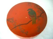 Vintage Hand Painted Round Chinese Red Lacquered Wooden Box
