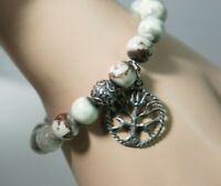 Authentic HONESTY Beaded Tree Of Life Pewter Charms Stretch Bracelet Pouch Sz M