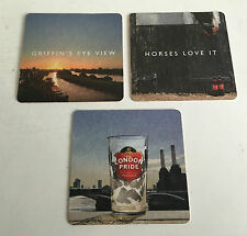 SET OF 3 DIFFERENT FULLERS LONDON PRIDE BEER MATS - DRINKS MATS