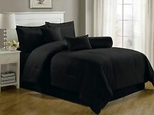 Luxurious 7-Piece Comforter Set King Size Bedding Black Bedspread Bed in a Bag