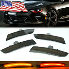 4x Smoke Lens LED Front + Rear Side Marker Lights For 16-18 Chevy Camaro US Hot