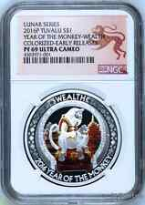 2016 P Tuvalu 1 Oz Silver Good Fortune Monkey Wealth $1 Coin NGC PF69 ER POP: 4