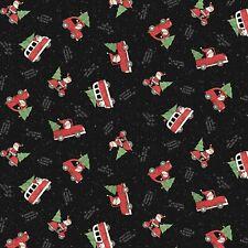New listing Christmas Santa Making Spirits Black 100% Cotton Fabric by The Yard