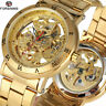 Forsining Transparent Mens Watches Automatic Mechanical Skeleton Steel Watch