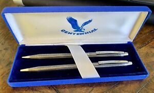 Vintage Centennial C Silver Chrome Pen & Mechanical PencilSet in Box