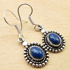Silver Plated Jewelry 1 3/8 Inches Earrings ! Original Lapis Lazuli Traditional