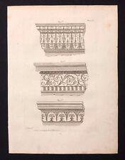 Antico 1800 Arch. stampa costruttori MAGAZINE 3 disegni per entablatures, ci