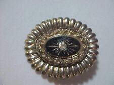 Oval Pin  Brooch Star Burst Onyx & Rhinestone Vintage Beautiful 19C