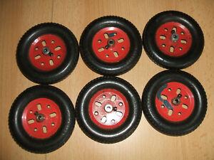 Märklin Metallbaukasten 6 x 10350 Schnurlaufrad + 6 x 14050 Reifen siehe Fotos