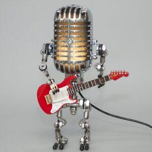 Steampunk Vintage Microphone cute Robot Lamp Metal Microphone Ornaments
